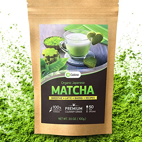 Matcha Green Tea Powder Organic - Japanese Premium Culinary Grade - Cooking Baking Smoothie Latte - JONA USDA Certified 3.5 oz (100g) - Energy Booster Green Superfood - Vegan Friendly