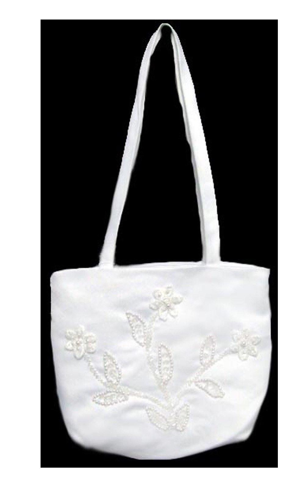 White Communion - Bridal Formal White Beaded Purse (57B131)