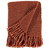 Stone & Beam Modern Woven Farmhouse Throw, 50' x 60', Orange/Red