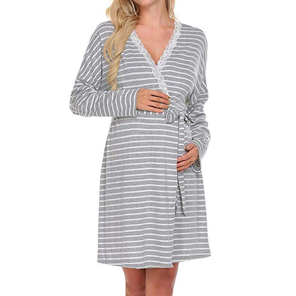 BBsmile Lactancia camisón y Bata Vestido de Maternidad para Mujer Camisón de Lactancia para la Lactancia Bata de Noche Ropa de Dormir