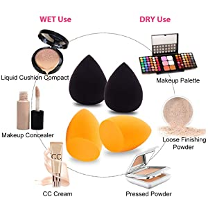 4+1Pcs Makeup Blenders with Cosmetic Sponges & Brushes Cleaner,Foundation Powder Blending Buds,Dry and Wet Used Beauty Muti-colored Blender,Soft Blending Sponge (Color: black)