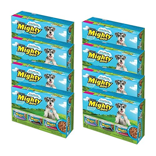 Purina Mighty Dog Variety Pack. Hearty Pulled-Style Chicken Dinner, Porterhouse Steak Flavor, Hearty Pulled-Style Beef Dinner 12 - 5.5 oz cans (5.5 oz cans, 8 Box)