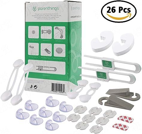Parenthings Kit de seguridad de bebé: protectores de esquina, tapas para enchufes, bloqueos