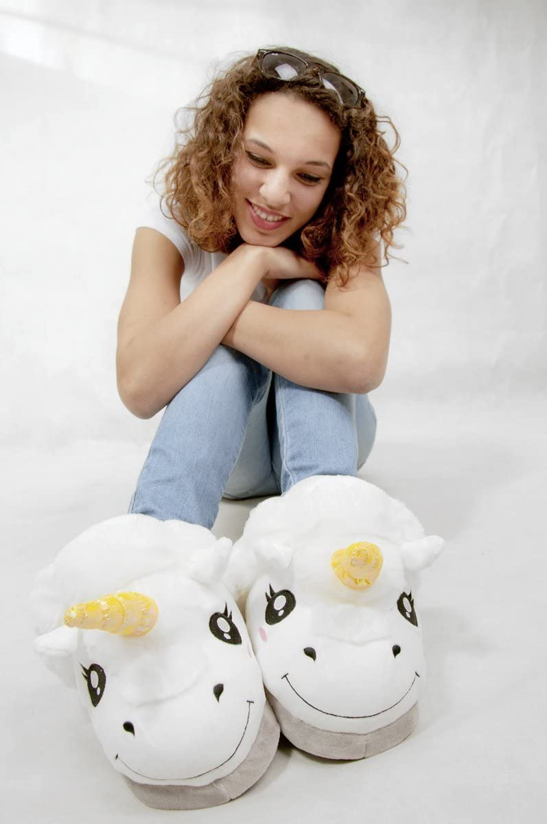 Thinkgeek Plush Unicorn Slippers, ein Size, White