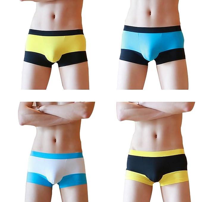 4 Piezas Moda Empalme Ropa Interior Masculina Algodón Confortable Respirable Juventud Boxer Shorts U Bolsa Convexa: Amazon.es: Ropa y accesorios