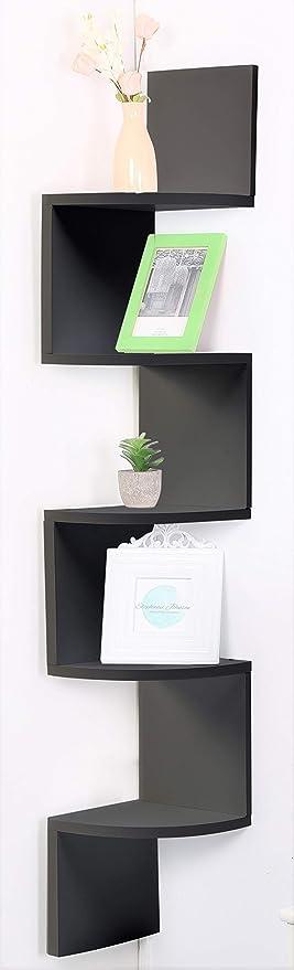 Etnicart - Estantería esquinera de madera MDF wenge de pared 20 x 20 x 120 cm para libros, objetos, estantería de pared, estantes, entrada, salón, ...