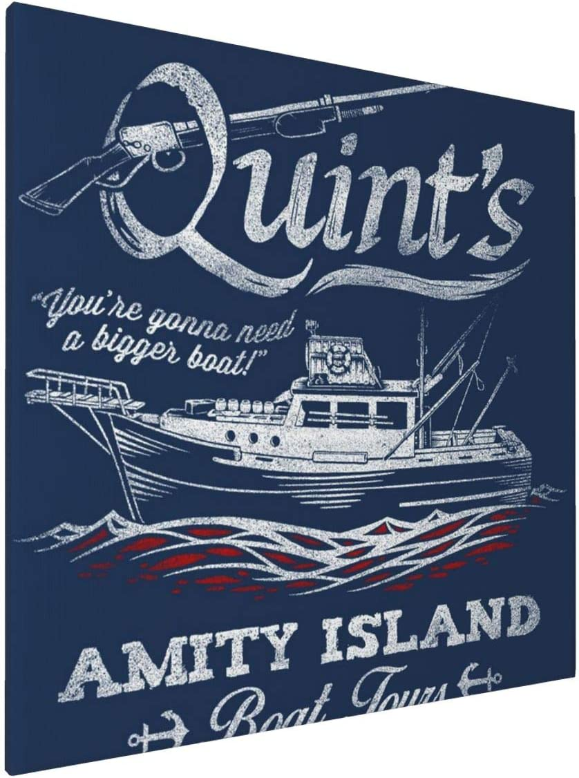 1007 Canvas Prints Wall Art Paintings(20x20in) Quints Amity Island Boat Tours Jaws Pictures Home Office Decor Framed Posters & Prints