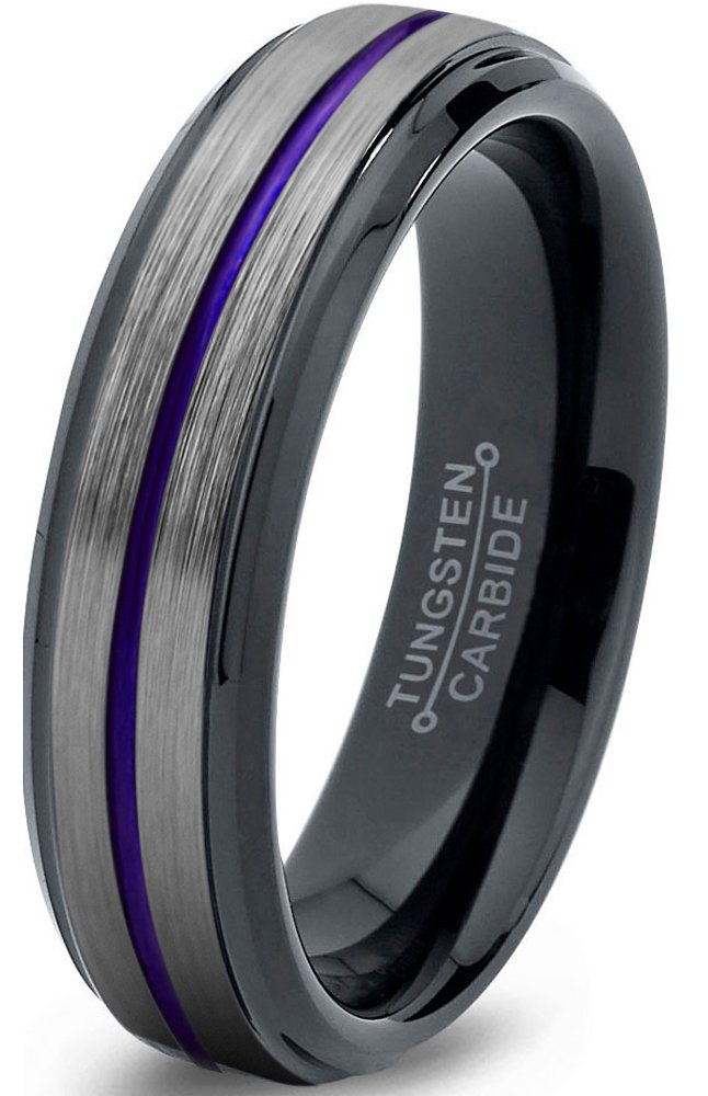 Chroma Color Collection Tungsten Wedding Band Ring 6mm for Men Women Blue Red Green Purple Black Center Line Step Beveled Edge Brushed Polished Size 6.5