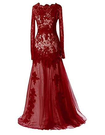 fc09a5fd1161 Ruiyuhong Women s Long Burgundy Lace Formal Dress Long Sleeve Evening Gown  LH459 US2