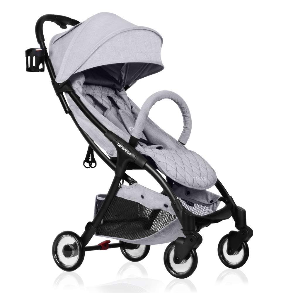 Lightweight Baby Stroller, Beberoad R2 Quick Fold Ultra Compact Travel Stroller with Extra-Large Waterproof and UV 50 Canopy, All Wheels Suspension, Fit to Baggage Cabin, Apply to 0-36months 45LBS