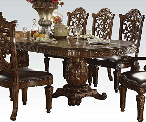 ACME Vendome Double Pedestal Table, Cherry Finish
