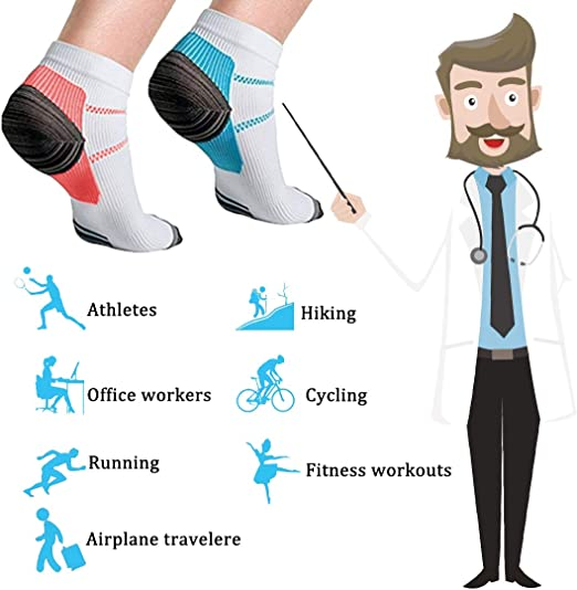 Voyage Meowoo 8 Paires Chaussettes de Compression pour Homme et Femme Chaussettes Sport Courte pour Sportive Cyclisme Fitness