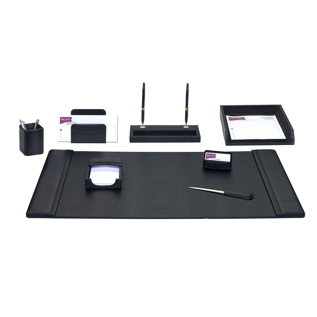 Dacasso Leather Desk Set, 8-Piece, Black by Dacasso (Image #1)