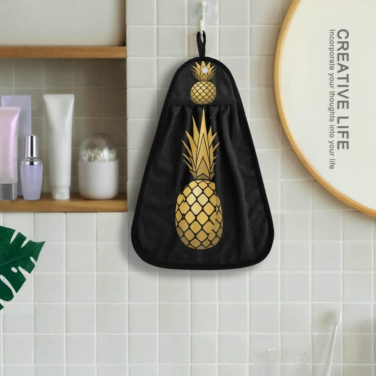 Linomo Essuie-mains /à suspendre Motif ananas Dor/é Absorbant S/échage rapide Torchon /à vaisselle pour cuisine salle de bain salon D/écor