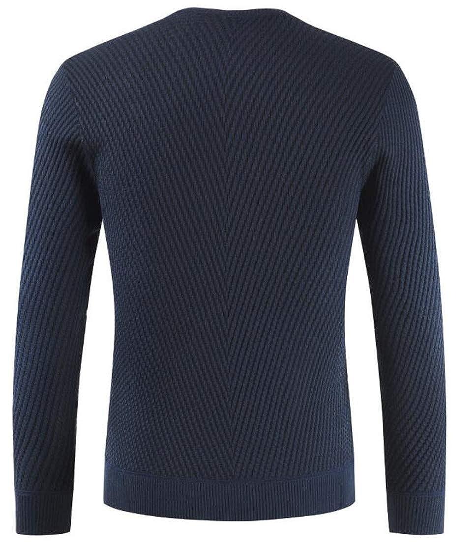 Spirio Men Long Sleeve Kni Basic V Neck Button Up Pullover Sweater