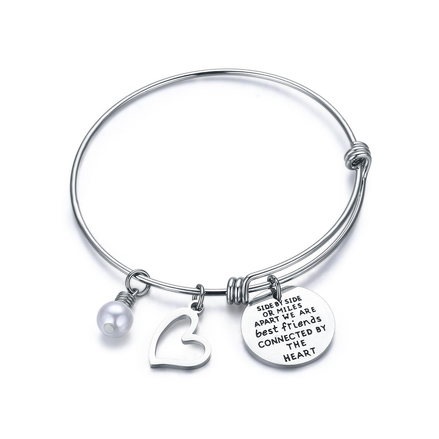 CJ&M Best Friend Bracelets - Side By Side Or Miles Apart Compass Best Friends Bangle Bracelets Adjustable,Long Distance Friendship Gifts,Sister Gift Jewelry B06XS5XG8L_US