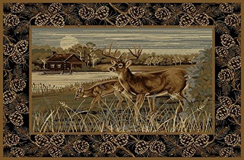 Rustic Wildlife Nature Cabin Two Deer Scene Lodge Area Rug 7 Feet 7 Inch X 10 Feet 6 Inch