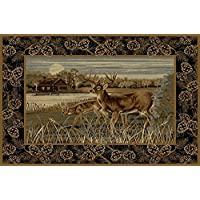 Champion Rugs Wildlife Nature Cabin Two Deer Scene Area Rug Carpet (2 Feet X 3 Feet 2 Inch)