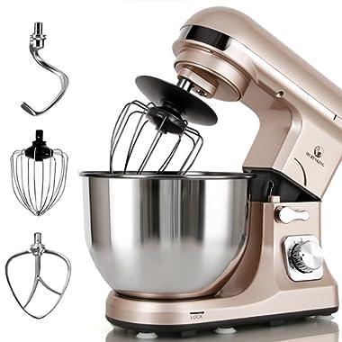 Stand Mixer MURENKING MK37A 500W 5-Qt Bowl 6-Speed Tilt-Head Food Electric Kitchen Machine,Plastic,Champagne