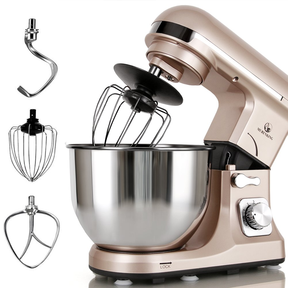 MURENKING Professional Stand Mixer MK37A 500W 5-Qt Bowl 6-Speed Tilt-Head Food Electric Kitchen Machine,Plastic,Champagne