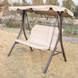 UHOM Outdoor Canopy Porch Swing Chair Glider Hammock Patio Backyard Porch Furniture Garden Yard Streamer Seat(Beige)