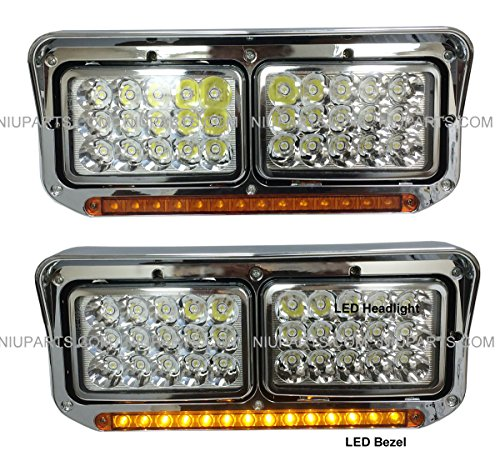 LED Headlights with Bezel and 12