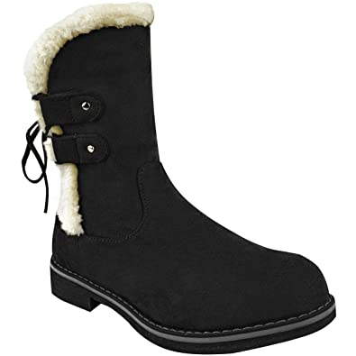 e5dc7e292496e Amazon.com | Fashion Thirsty Womens Winter Faux Fur Wedge Ankle Boots Inner  Lined Shoes Size | Ankle & Bootie