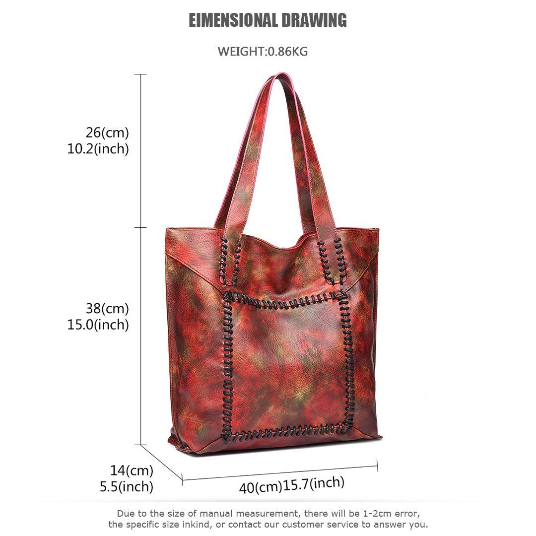 Kono mujeres Hobo bandolera estilo vintage de alta calidad suave pu bolso de cuero 2 en 1 bolso cruzado conjunto Acero rojo