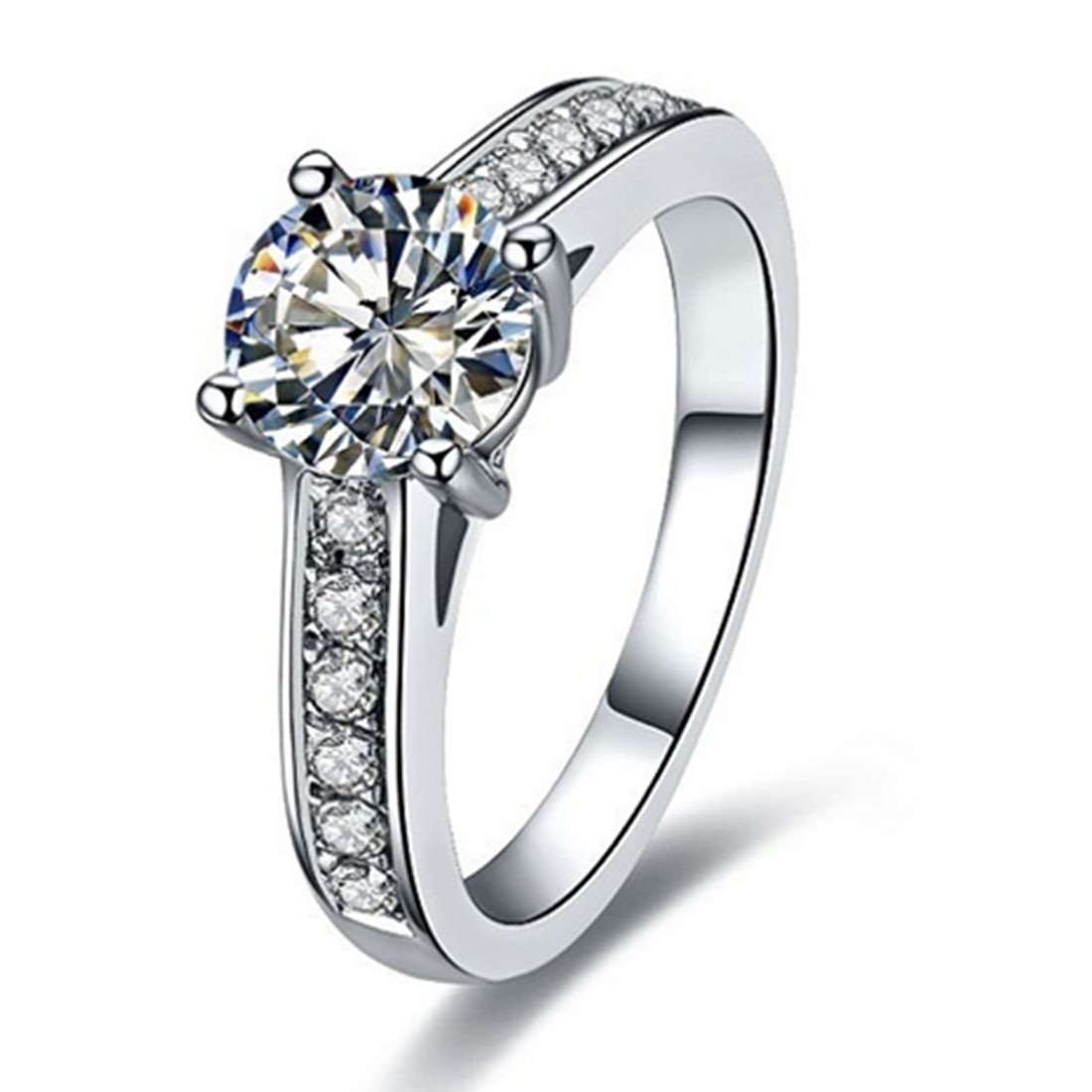 Sterling Silver 1CT Brand Engagement Ring for Women NSCD Simulated Diamond 4 Prongs Setting