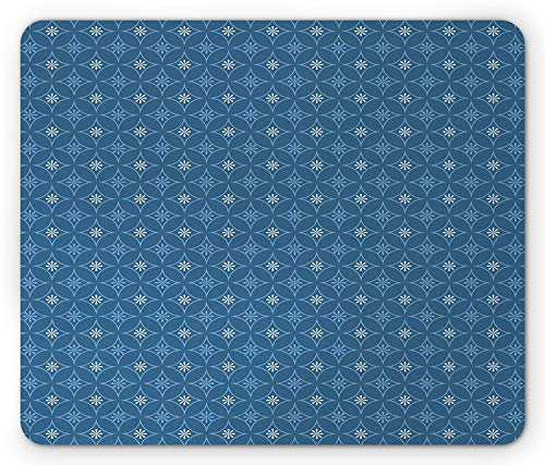 Blue Mouse Pad, Overlapping Circles with Cherry Blossoms Artistic Asian Gardening Plants, Standard Size Rectangle Non-Slip Rubber Mousepad, Blue Light Blue White,9.8 x 11.8 x 0.118 ()