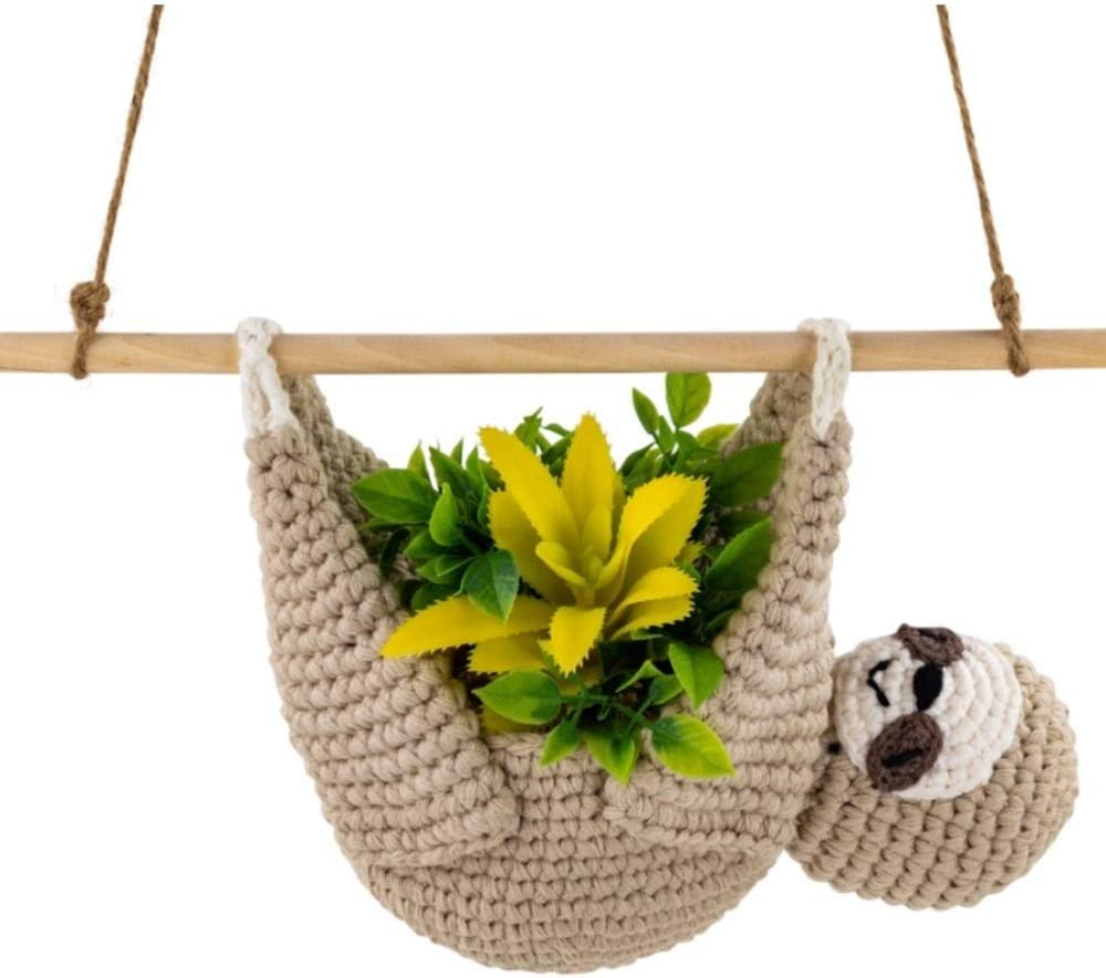 Sloth Hanging Planter Holder | Large 4 inch Sloth Planter | Handmade Crochet Sloth Air Planter | Sloth Lovers Gift, Home Decor - Sloth Air Plant Holder - Cute Hanging Sloth Succulent Planter