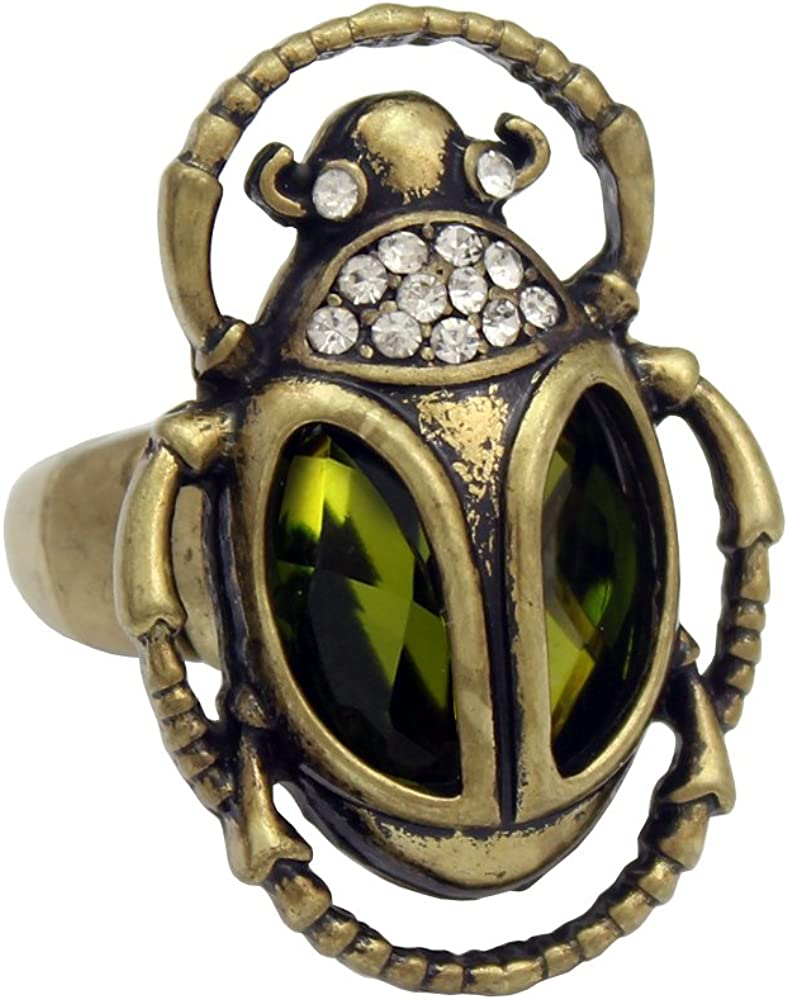 Vintage Tarnished Gold Beetle with Rhinestone eyes adjustable ring
