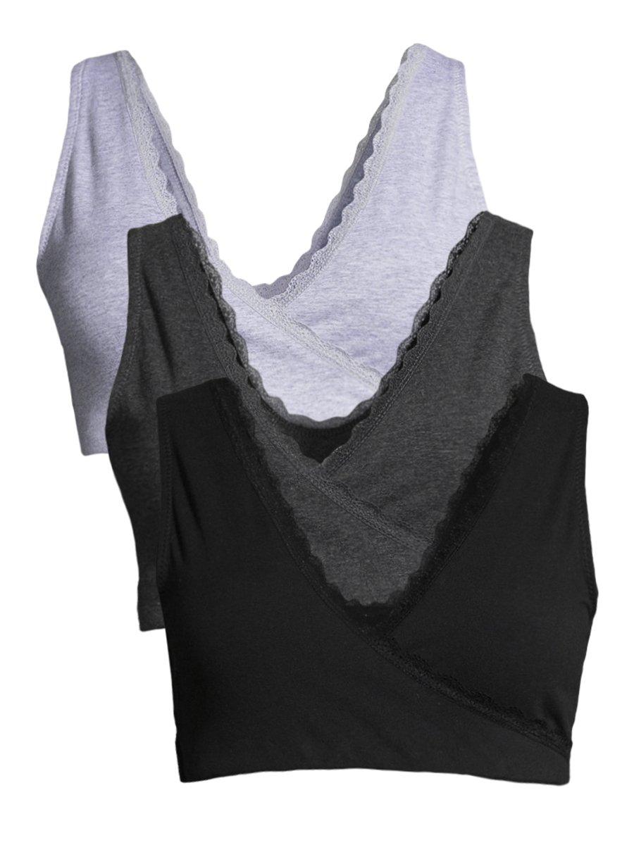 Lamaze Women's 3 Pack Maternity Lace Trim Overnight Wide Band Shoulders Nursing Bra Charcoal Heather/Heather Grey/Black Medium