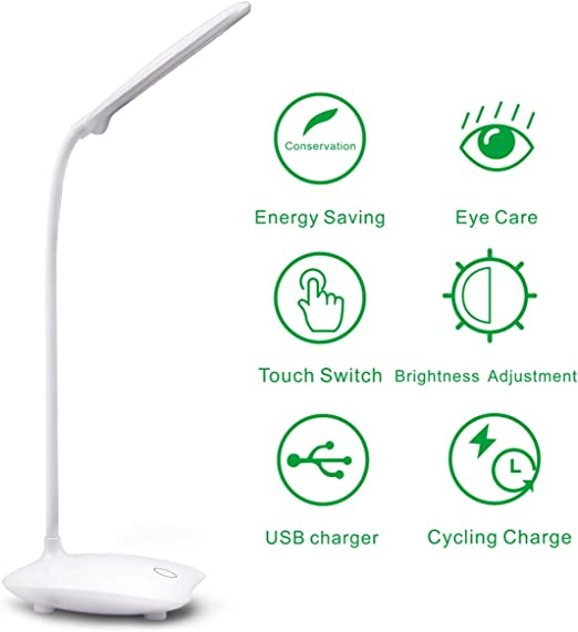 Tischlampen Augen Schutz USB LED Schreibtisch Lampe Wiederaufladbare Touchscreen