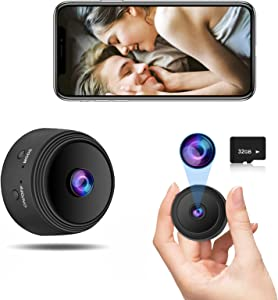 Mini 1080P Security Camera with Audio and Video(with 32G SD Card),Auto Night Vision/Motion Activated Alarm,Security Surveillance Wireless Nanny Pet Cam Ultra Wide-Angle Cameras for Home Security