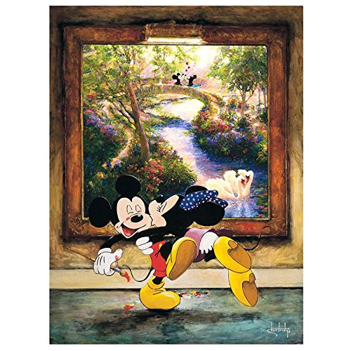 """A Kiss for a Kiss"" Hand Embellished Limited Edition Giclee on Canvas by Stephen Shortridge from Disney Fine Art; Numbered, Hand Signed, with Certificate!"