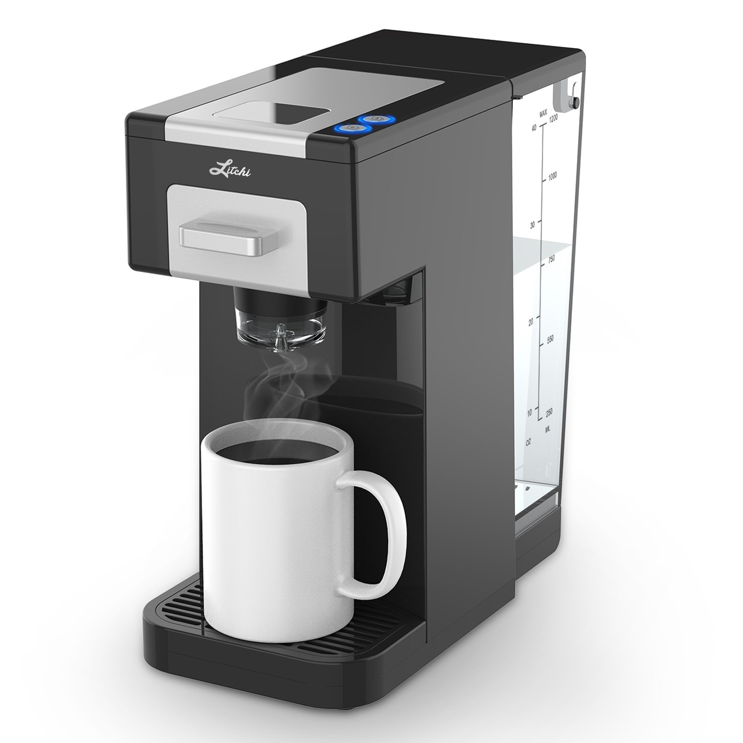 Litchi Single Serve Coffee Maker for Most Single Cup Pods Including K Cup Pods, Ground Coffee, 40 OZ Detachable Reservoir, 4 OZ, 8 OZ or Customized Brew Size, Black KCM1608B