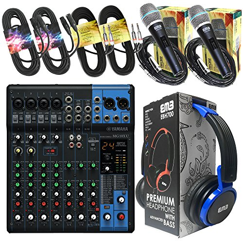 Yamaha Package Bundle - Yamaha MG10XU 10-channel Analog Mixer + EMB EBH700 Pro Preminum Wire Headphone + 2 EMB Emic800 Microphones + 2 XLR XLarge Cables + 2 1/4'' To 1/4'' Cable by Package