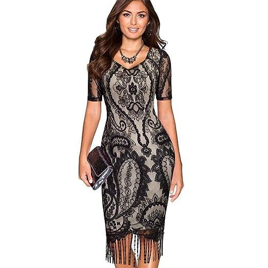 bce3b1b92 2018 Vestidos Ropa De Moda Para Mujer De Fiesta y Noche Casuales Elegante  Negro (S) VE0048 at Amazon Women s Clothing store
