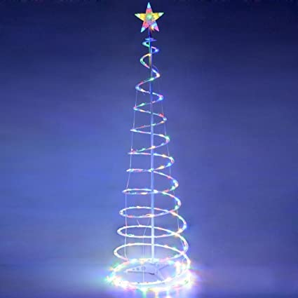 6 ft clear led lighted spiral christmas tree multi color