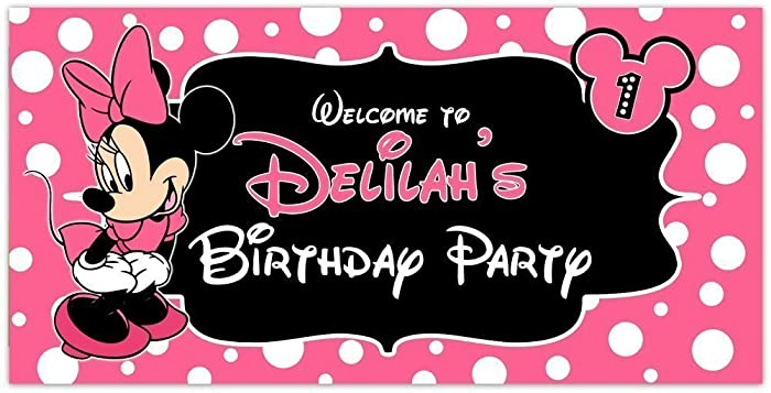 amazon com minnie mouse pink birthday banner personalized party