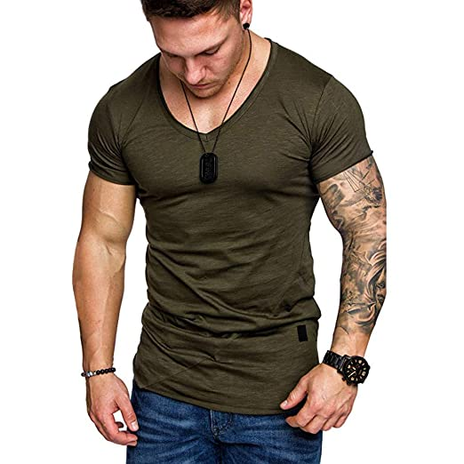 6bf9f0b8b12f Men Muscle T-Shirt Slim Fit V Neck Short Sleeve Blouse Top Active Workout  Fitness