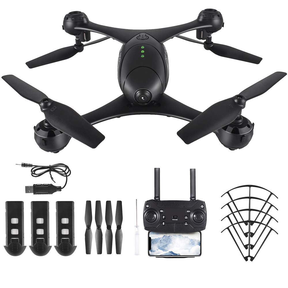 Goolsky KF600 Drohne Drohne Drohne mit 720P HD Kamera live übertragung,WiFi FPV Quadrocopter, App-Steuerung, One Key Start/Landung,Headless Modus,RC Drohne für Anfänger,Schwarz(3 Batterien) eda04f