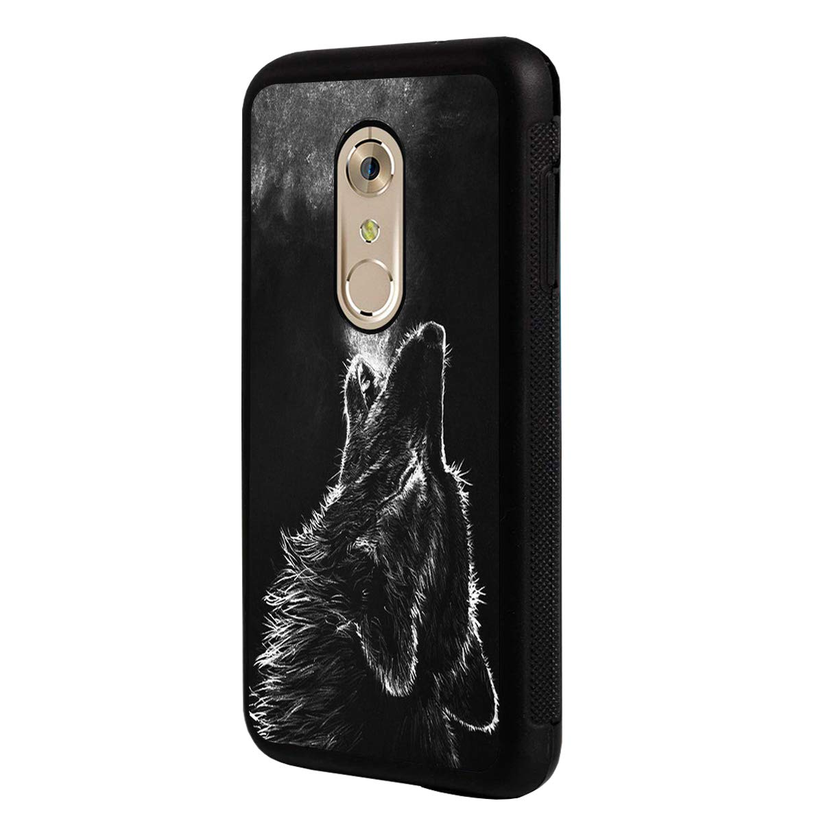 LG Q7 Case,LG Q7 Plus Case,BOSLIVE Grey Wolf Howling Background Design TPU Slim Anti-Scratch Protective Cover Case for LG Q7 /LG Q7 Plus