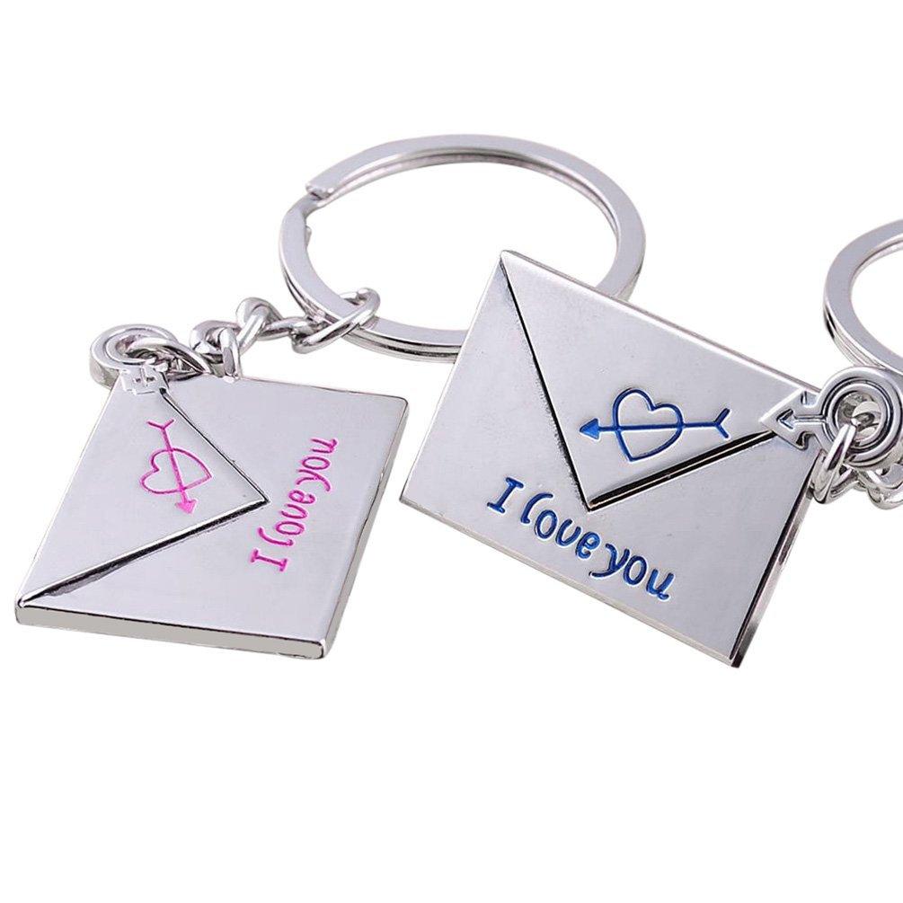 2 Pcs Envelope Heart I Love You Lover's Keyrings Bag Hanging Couple Key Chains GlobalDeal Direct