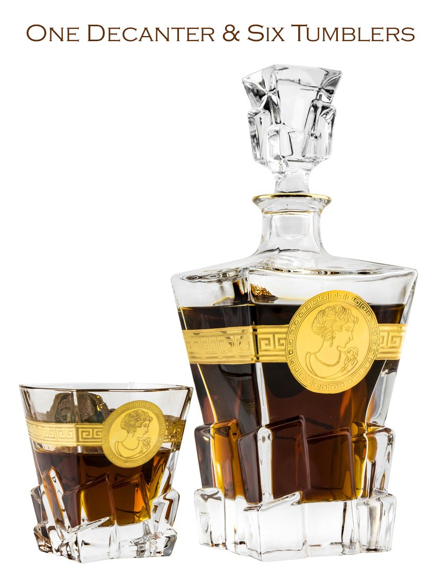 Victoria Bella 71-923004, 21 Oz. Crystal Decanter & Six 7.7 Oz. Whisky Scotch Brandy Glasses with Golden Trim, Classic Wedding Gift Carafe & Whiskey Tumblers, 1+6-Piece Set