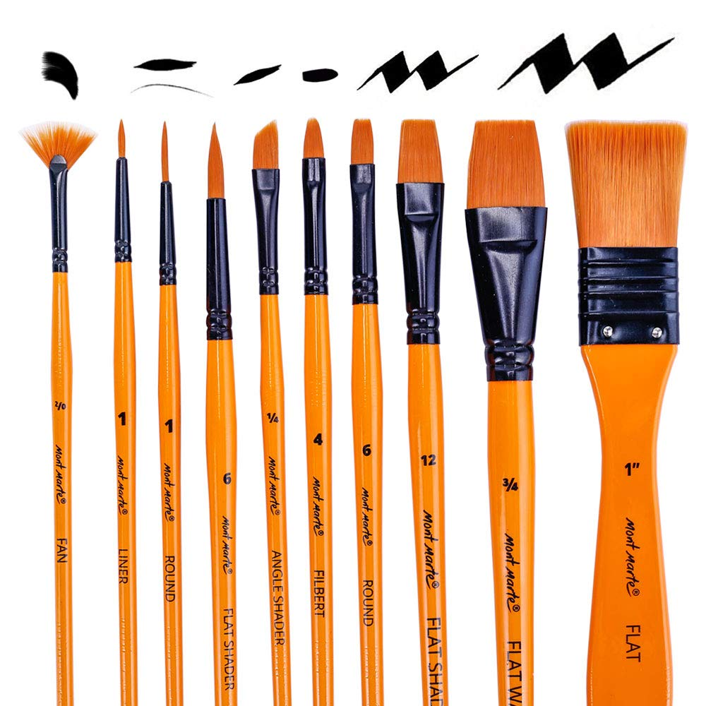 Mont Marte Art Paint Brushes Set for Painting, 10 Variety of Brushes Types for Class, Kids, Artists- Nice Art Brushes for Acrylic Painting by Mont Marte