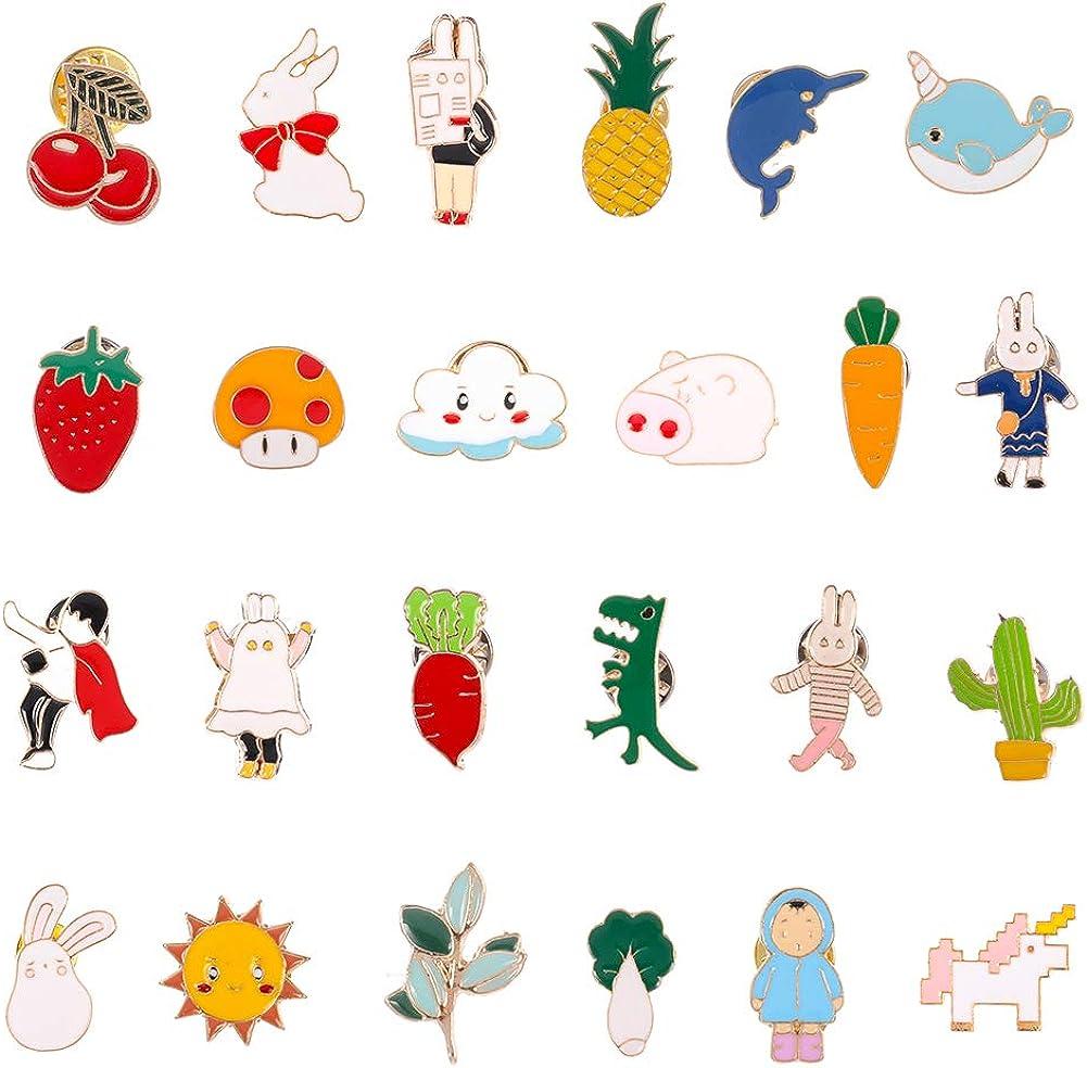 Opopark Juego de Alfileres de Esmalte, 24 piezas Alfileres de Broche Lindos Insignias Lindas de Dibujos Animados para Ropa Sombrero Mochilas Regalo para Niñas