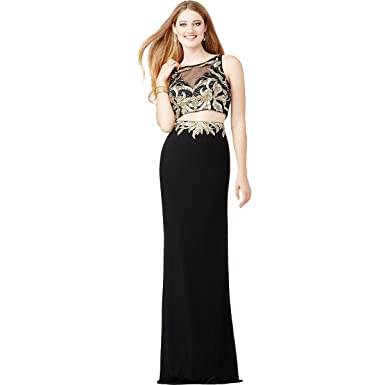 JVN by Jovani Womens 2PC Rhinestone Crop Top Dress - Black - 8