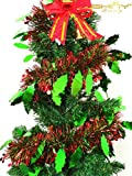 DUOBAO 15 Pcs-Red & Green-6.5 Ft (2M) x 5 Inch Wide Christmas Tree Decorations Beautiful Children Birthday Party Metallic Tinsel Foil Garland~1204S